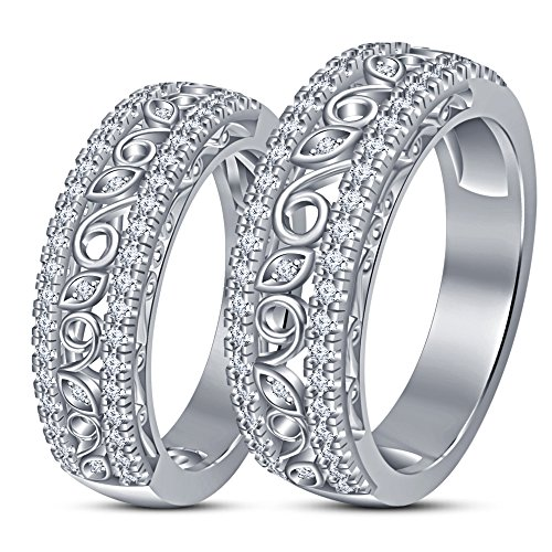 TVS-JEWELS Gold Plated 925 Sterling Silver White CZ Studded Inexpensive Couple Ring Set (white platinum plated) by TVS-JEWELS