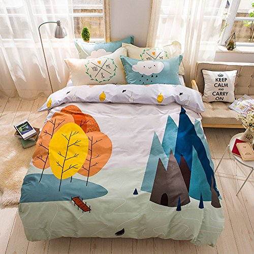 WarmGo Home Bedding Set for Adult Kids Forest Trip Tree Pattern Duvet Cover Set 4 Piece Full/Queen Size without Comforter by WarmGo