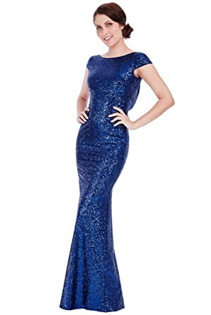 Goddiva Navy Sequin Open Back Maxi Evening Dress Bridesmaid Prom Ball Party (12, Navy