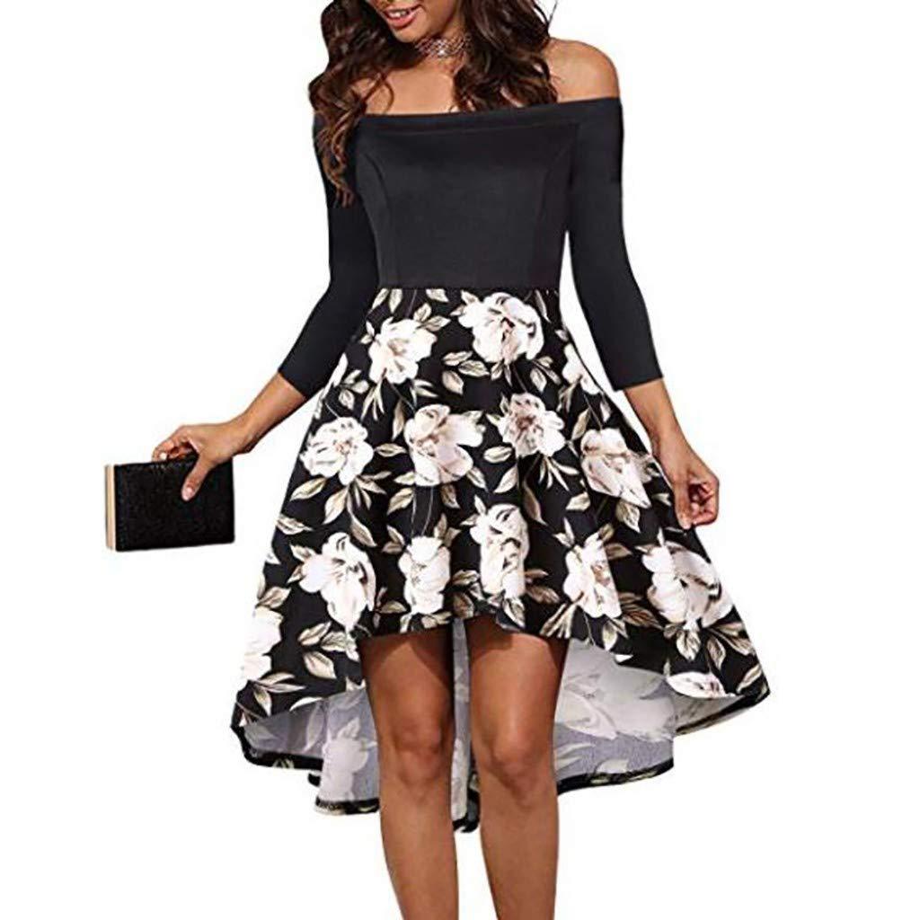 Keliay Bargain Women Fashion Slash Neck Long Sleeve Flower Print Short Dress Knee-Length Dress White by Keliay