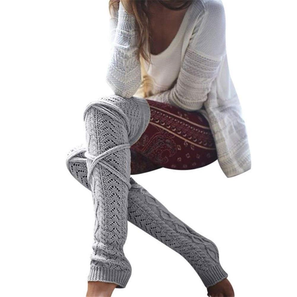 ERNANGUA Women Knitted Woolen Stockings Leg Warmers Autumn Winter Warm Bandage Hollow Out Long Stocking Thigh High Over Knee Socks (Color : Light Gray, Size : M) by ERNANGUA