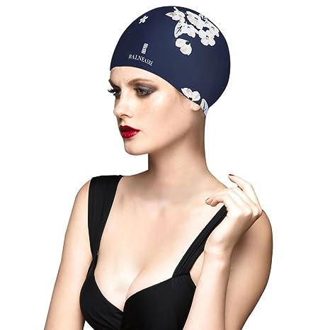 Amazon.com   BALNEAIRE Silicone Long Hair Swim Cap for Women ... 16882859c