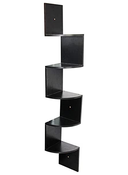 Amazon Com Pag 5 Tier Wall Mounted Floating Corner Shelves Wooden