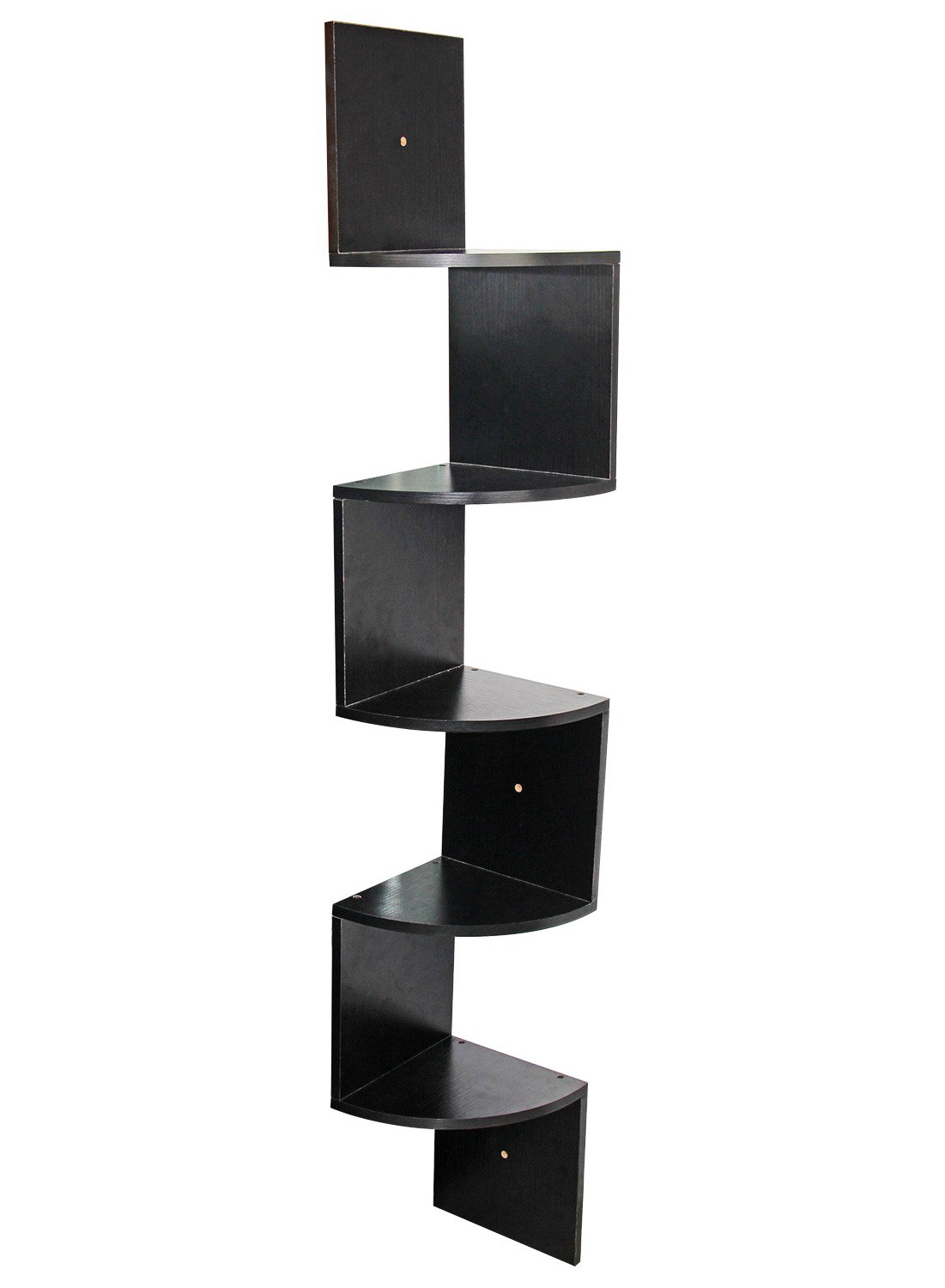 PAG 5 Tier Wall Mounted Floating Corner Shelves Wooden Storage Organizer Unit, Black