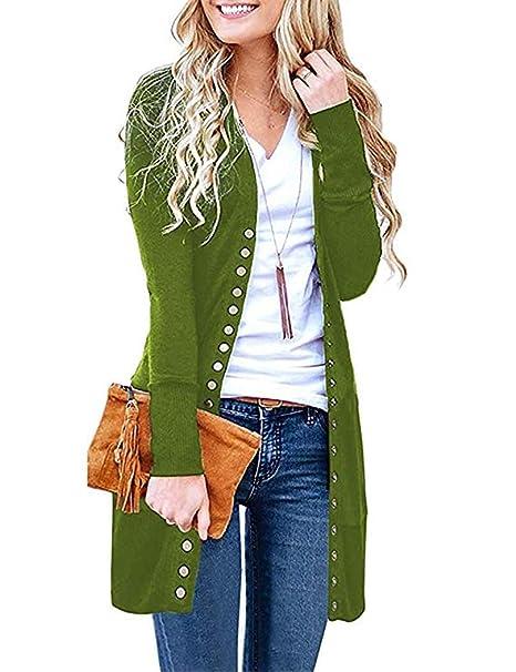 Yknktstc Cardigan Sweaters for Women Long Sleeve Soft Basic V,Neck Button  Down Knitwear
