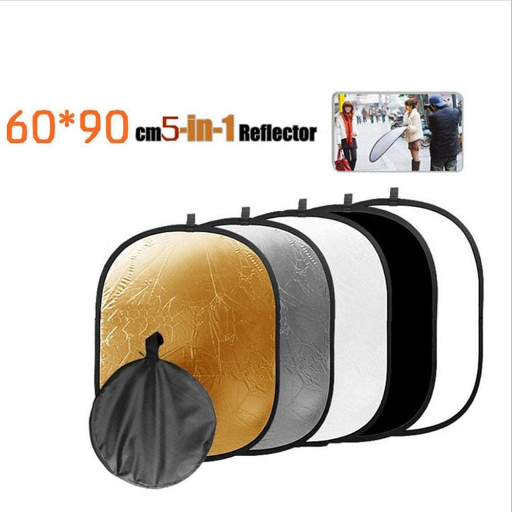 Collapsible Reflector,60x90cm 5 in 1 New Portable Collapsible Light Photography//Photo Reflector Diffuser for Studio,with a Dual Zippered Carrying Bag
