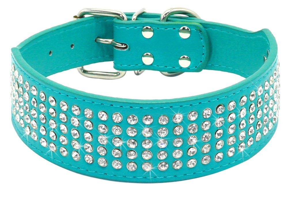 Beirui Rhinestones Dog Collars - 5 Rows Full Sparkly Crystal Diamonds Studded PU Leather - 2 Inch Wide -Beautiful Bling Pet Appearance for Medium & Large Dogs,19-22'' Turquoise