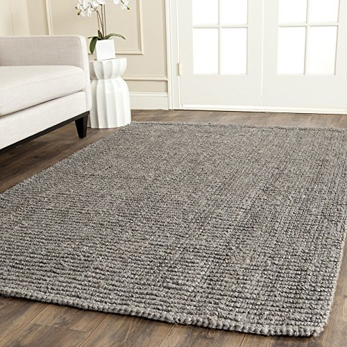 er Collection NF447G Hand Woven Light Grey Jute Area Rug (11' x 15') (Flat Weave Carpet)