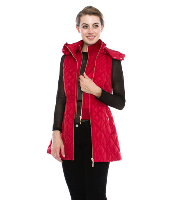 JEZEEL Women's Quilted Long Vest W/Detachable Hood (JZPV004)