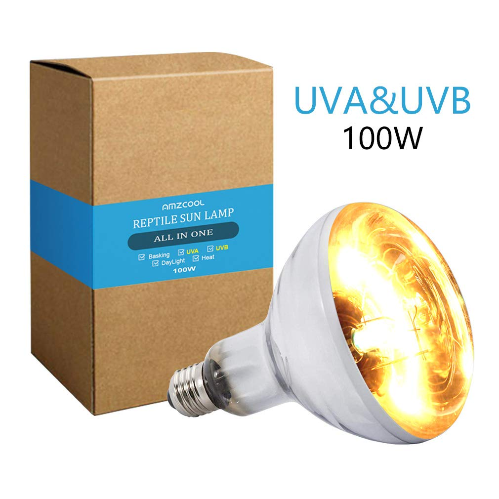AMZCOOL UVB and UVA Reptile Heat Lamp Bulb Truly Sun-Like Bright Heat for Reptiles, Amphibian and Birds (100W) by AMZCOOL