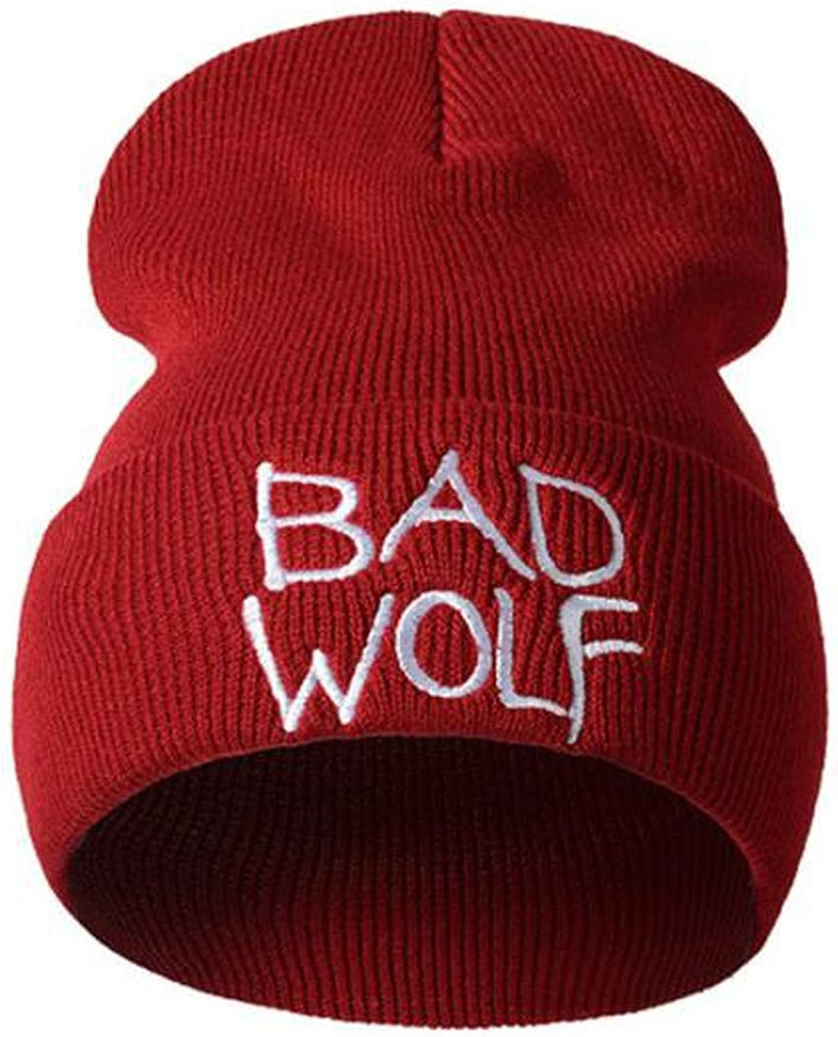 Hot Caps Unisex Bad Wolf Letter Embroidery Fashion Keep Warm Wool Knitted Earmuffs Beanies Hats