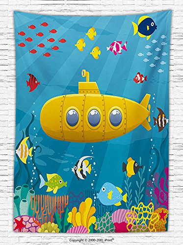 Yellow Submarine Fleece Throw Blanket Coral Reef with Colorful Fish Ocean Life Marine Creatures Tropical Kids Throw Blanket