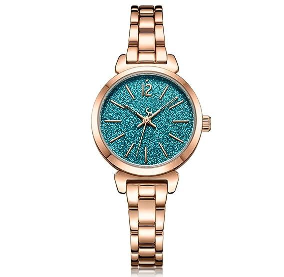 Reloj para mujer 2018 Starry Rhinestone Steel Belt Mujer Reloj de cadena de metal de mesa: Amazon.es: Relojes