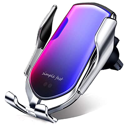 Lejianjia Wireless Car Charger Pro,Mobile Phone Holder with Automatic Clamping,10W Qi Fast Charging, Compatible with iPhone Xs Max/Xs/Xr/X/8+/8, Samsung S10/S10+/S10E/S9/S9+/S8/S8+/S7&More (Sliver): Electronics