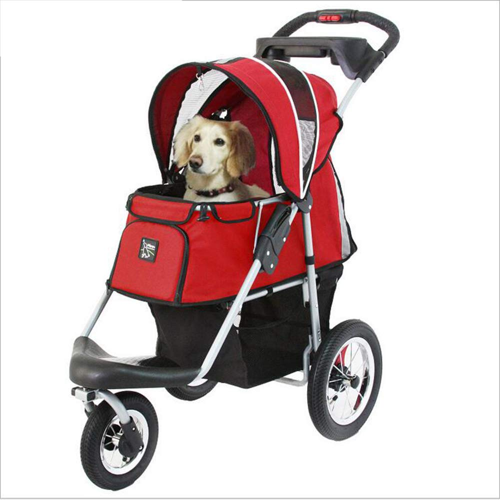 Luxury Pet Stroller For Cats Dogs,Easy One-Hand Fold, Air Tires, Cup Holder + Storage Basket 3 Wheels Waterproof Mat Large And Medium Dogs,Red