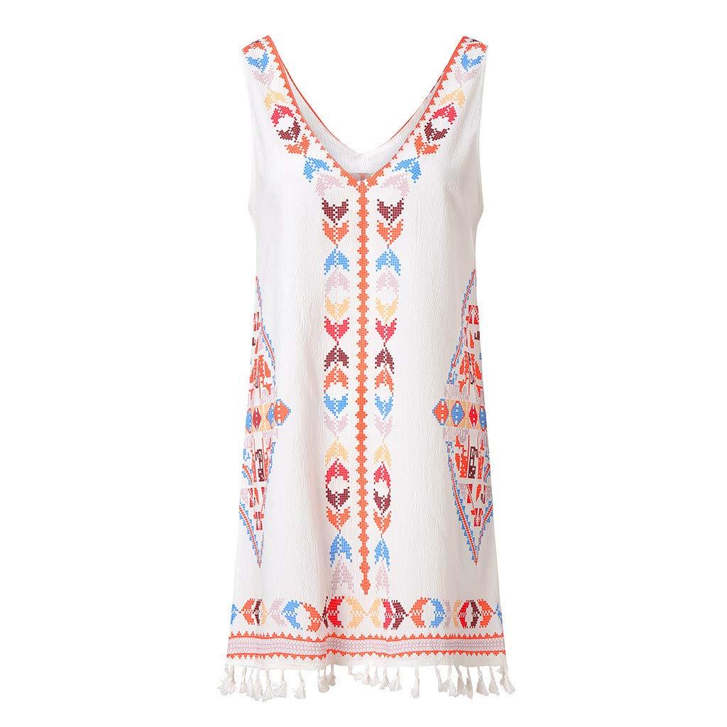 Amlaiworld Women Beach Dress Fashion Summer Bohemia Tassel Casual Print Sleeveless Mini Dress Evening Party Short Dress White
