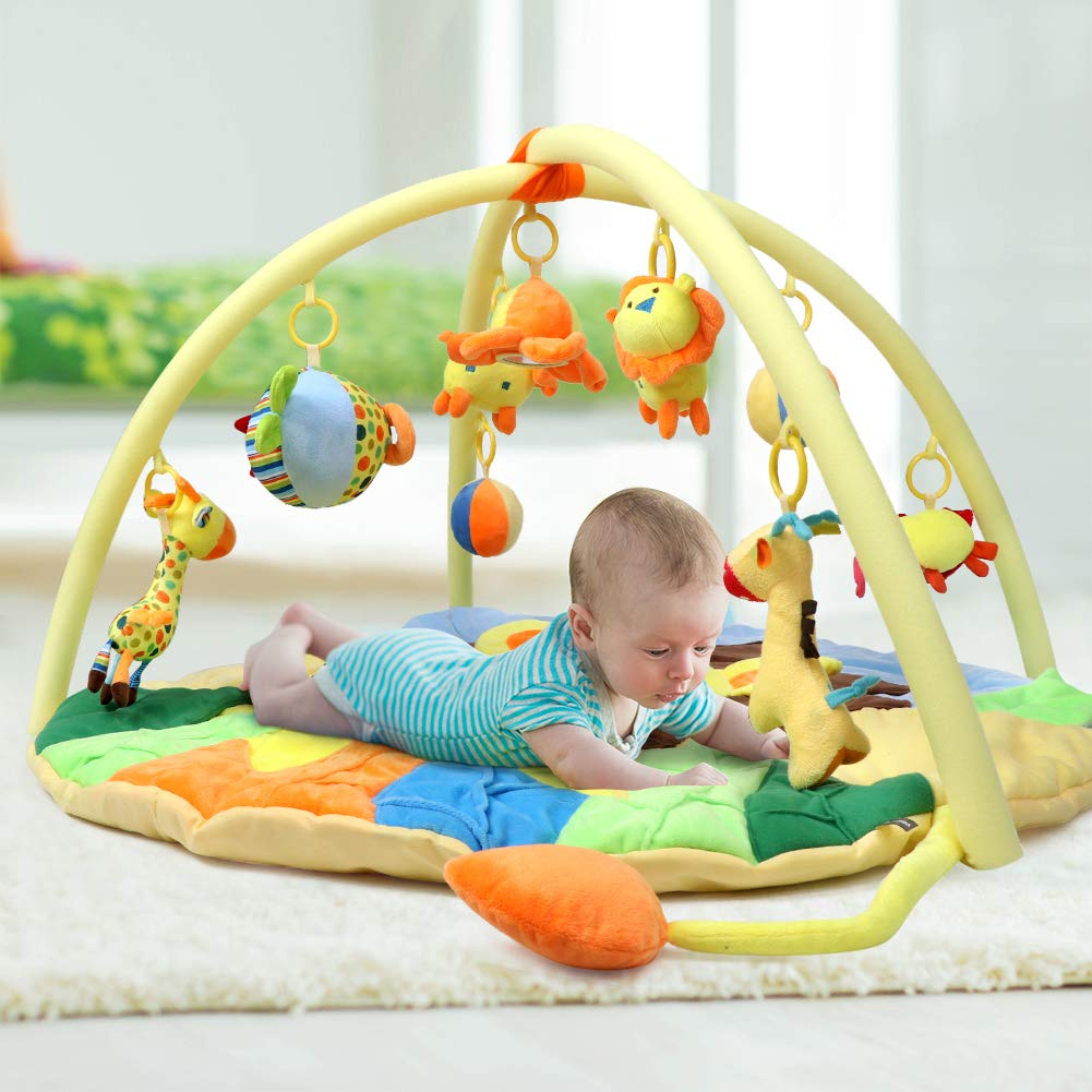 Bammax Baby Play Mat Playmat Baby Activity Gym Mat for Infant and Baby Sit and Play Mat with Sensory Toys