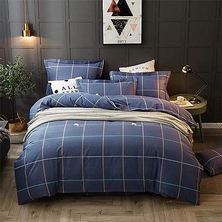 Ropa de cama a cuadros azul marino Funda nórdica tamaño King Algodón 100% azul Juego