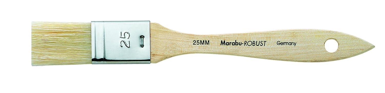 Marabu - Pennello robusto piatto largo numero 25, per pittura di scuola/tessuti/acrilico e colori a olio, legno, marrone 15200025