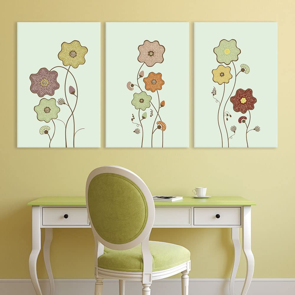 3 Panel Canvas Wall Art - Hand Drawing Style Flowers on Light Green Background - Giclee Print Gallery Wrap Modern Home Art Ready to Hang - 24