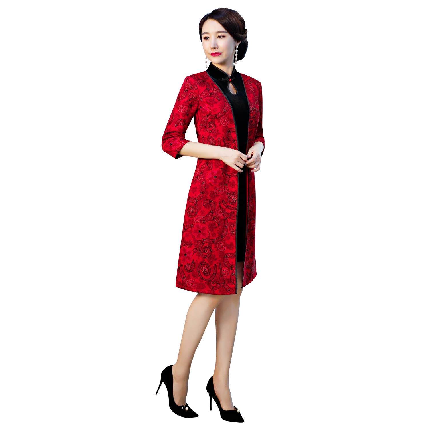Shanghai Story Suede Cheongsam Dress Chinese Qipao with 3/4 Sleeve Coat Set M 01
