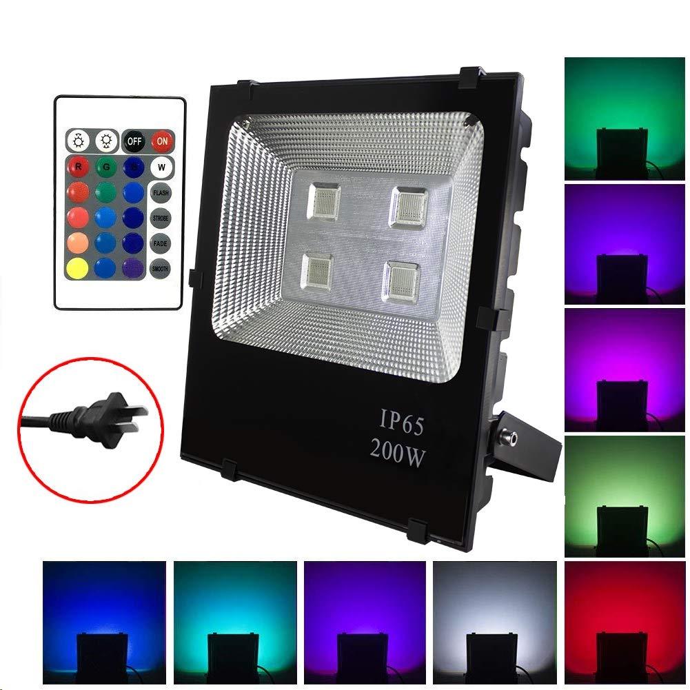 LED投光器 RGB フラッドライト 16色 4モード ガーデンライト リモコン付き 防水仕様IP65 (ホリデー照明ライト、風景ランプ、ステージランプ) B07SR319QN  200w
