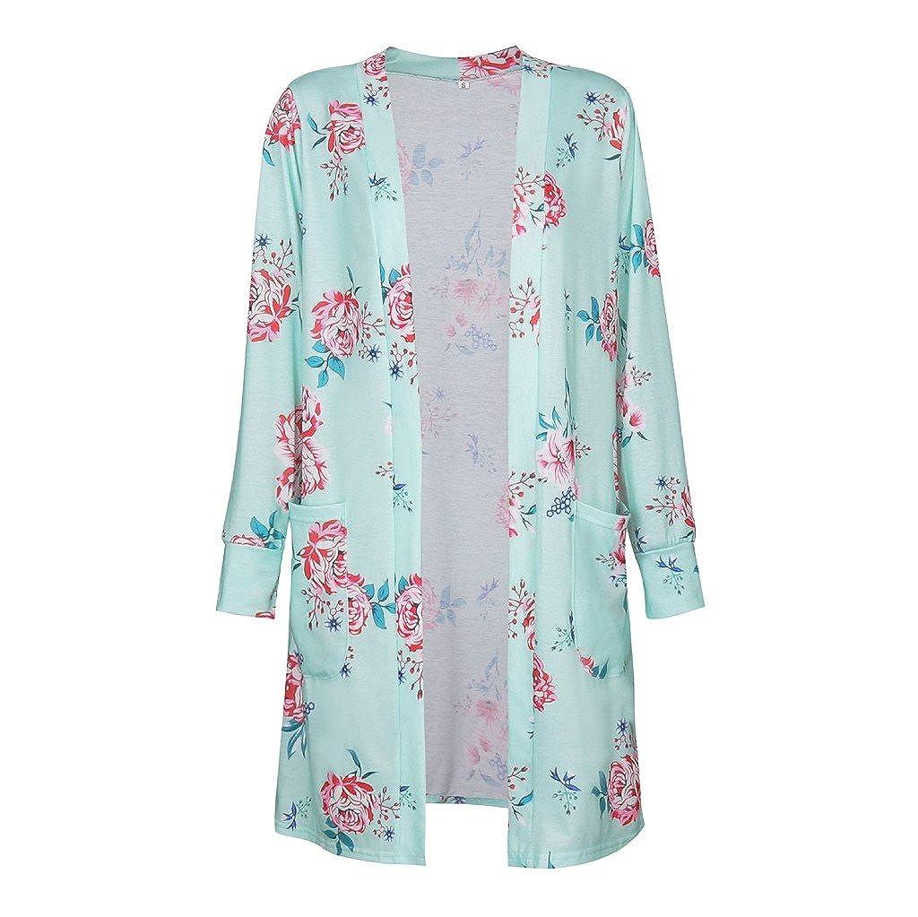 Hibote Femmes Cardigan Manches Longues Cardigan Printemps Automne Impression Floral Outwear avec Poches