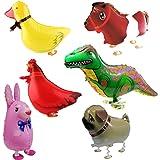 6pcs Walking Animale Festa Di Compleanno Palloncini Decorazione Bambini Regalo - Coniglio, Dinosauro, Cavallo, Duck, Gallina, Bullo