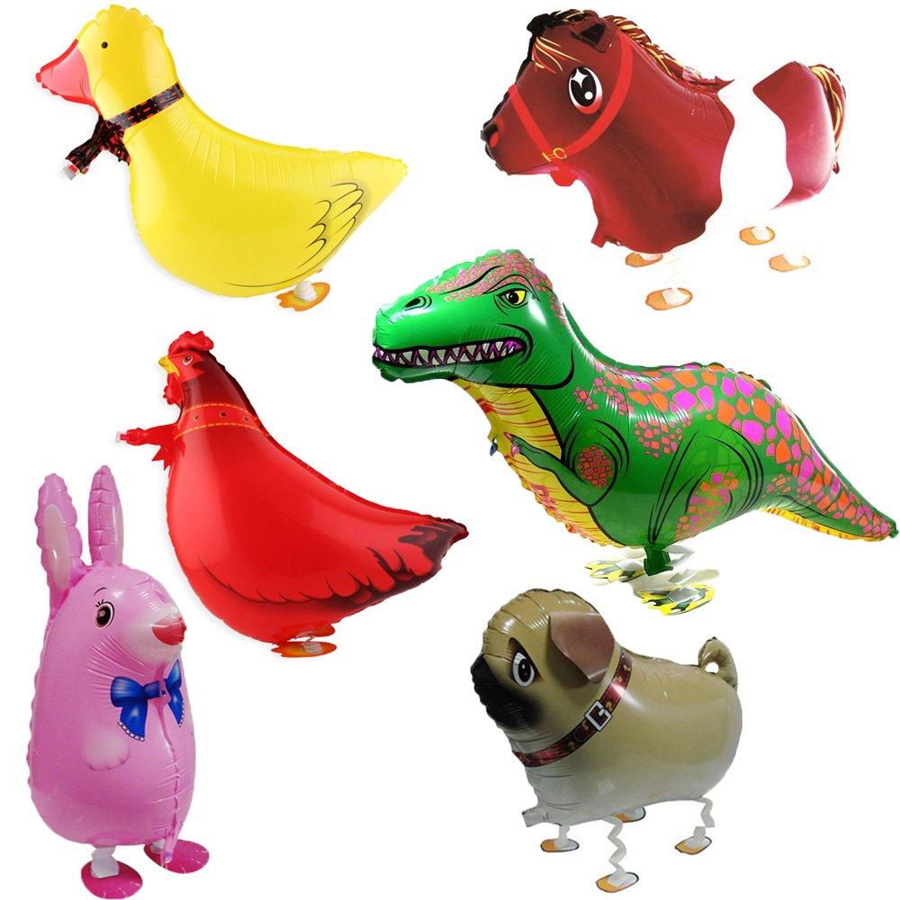 Signstek 6pcs Walking Animal Balloons Birthday Party Decor Children Kids Gift - Bulldog, Giraffe, Zebra, Elephant, Panda, Cow ST-BALLON01