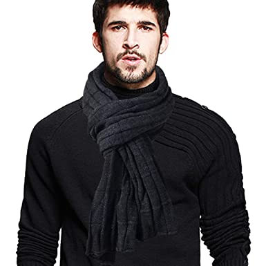 VECRY Homme Longue Écharpe Doux Chaud Épais Tricoter D hiver Écharpes  (Côtelé-Gris d58dd6465d3