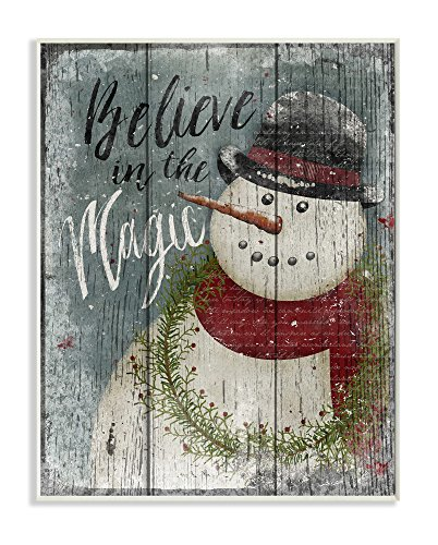 (Stupell Home Décor Believe in Magic Snowman Wall Plaque Art, 10 x 0.5 x 15, Proudly Made in USA)