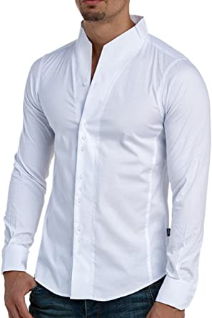 CARISMA Camisa de manga larga para hombre, corte ajustado, informal, cuello alto