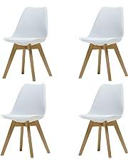 Naturelifestore Pack de 4 sillas de Comedor/Oficina con Madera de Haya Piernas para Comedor/Sala de Estar/Café / Restaurante, Blanco