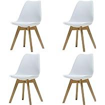 ArtDesign FR Silla Nórdica (Pack 4) - Silla Escandinava Blanca - Silla Nordic Scandi