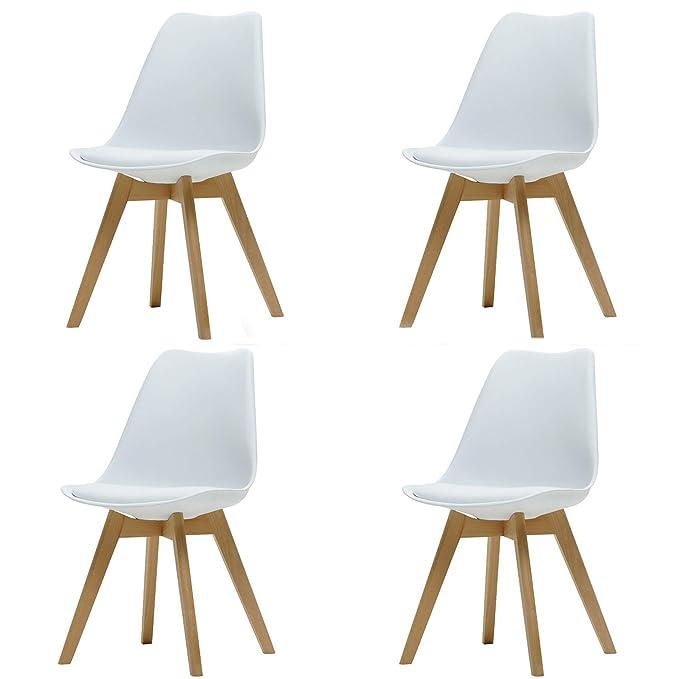 ArtDesign FR Tulip sillas de Comedor Moderno, Juego de 4, Asiento Acolchado Suave, Patas de Madera Maciza de Haya Natural, Respaldo de Forma ergonómica, ...