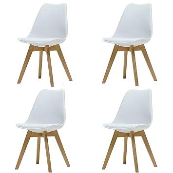 ArtDesign FR Tulip sillas de Comedor Moderno, Juego de 4, Asiento Acolchado Suave,