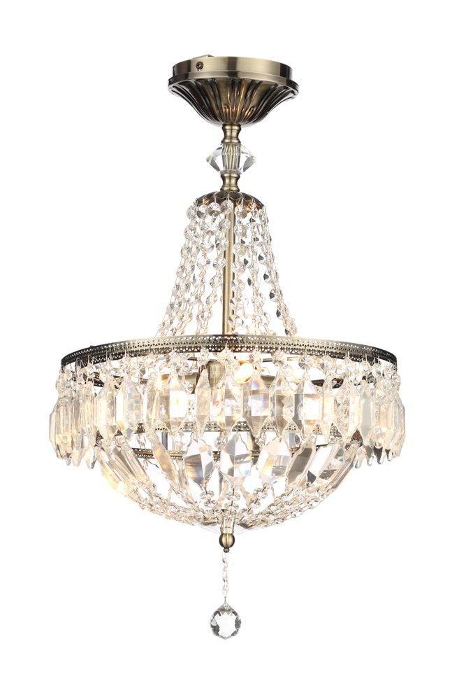 Illuminate Essen 3-Light Classic Flush Chandelier With Lavish Sparkling Chains Of Glass Crystals, Brass/Clear Cascade PR31204