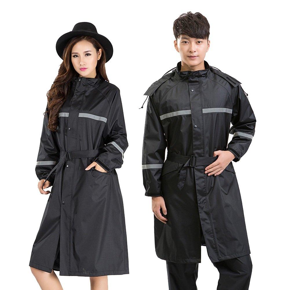 PENGFEI レインコートポンチョ 防水 ロングトレンチコート 帽子の庇 徒歩で ライディング 柔らかい カップル、 5色 6サイズ B07CLS53LC M|ブラック ブラック M