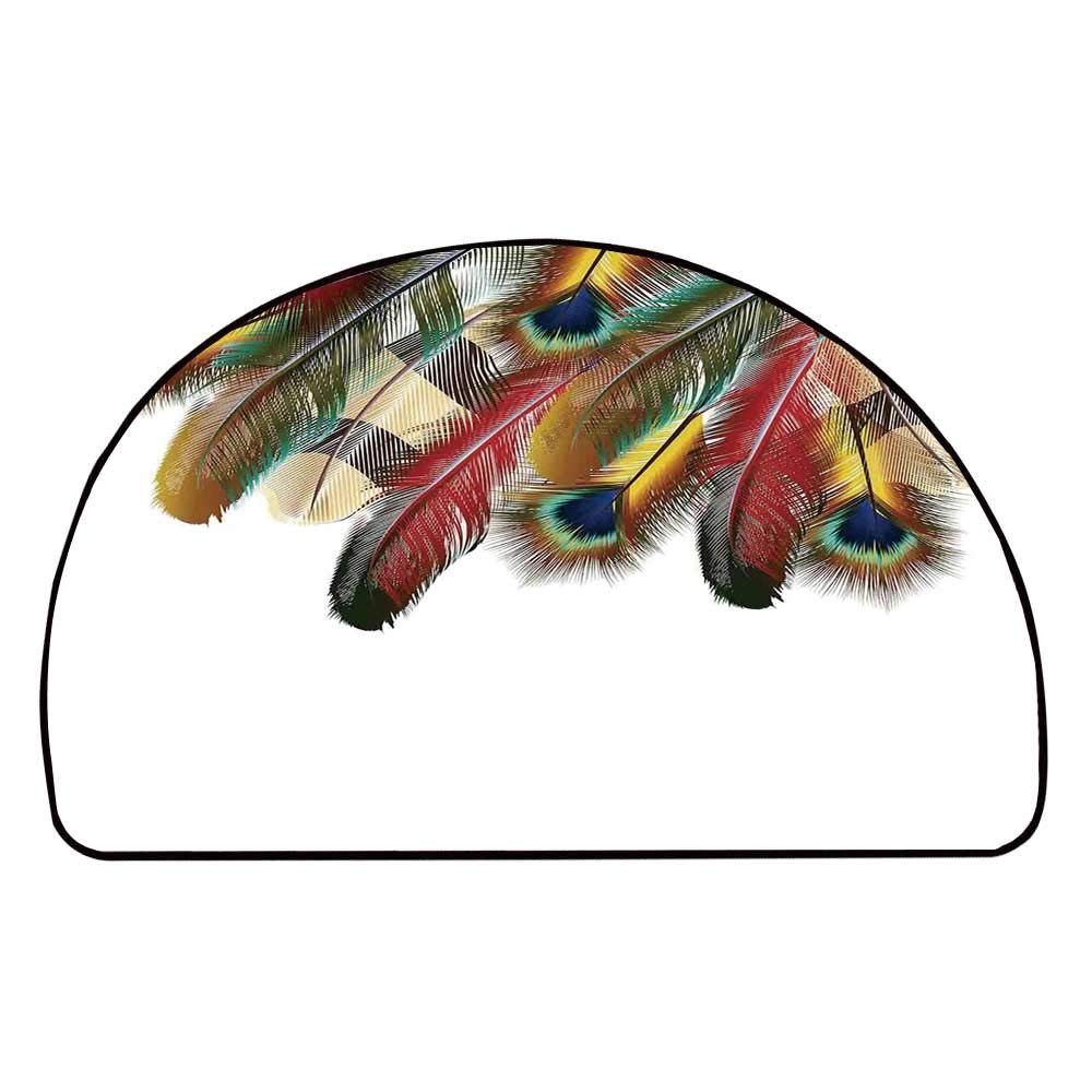 C COABALLA Peacock Comfortable Semicircle Mat,Mystical Colorful Peacock Feathers Vibrant Universal Link Icons Bohemian Theme for Living Room,11.8'' H x 23.6'' L