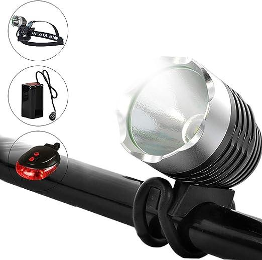 Luz frontal recargable USB para bicicleta 1200 lúmenes 4 modos de Luz trasera DEL