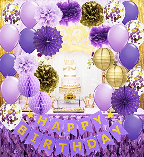 Purple And Gold Decorations (Purple Gold Birthday Party Decorations Happy Birthday Banner Purple Gold Confetti Balloons Polka Dot Paper Fans for Women/Girl Purple Birthday Decorations Purple Gold Birthday Photo)