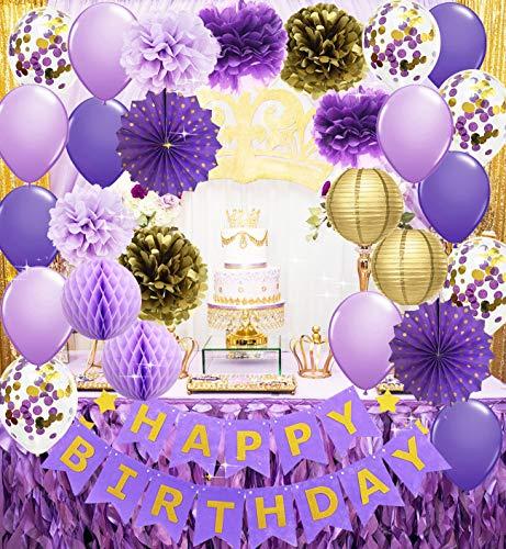 Purple Gold Birthday Party Decorations Happy Birthday Banner Purple Gold Confetti Balloons Polka Dot Paper Fans for Women/Girl Purple Birthday Decorations Purple Gold Birthday Photo Backdrop (Gold Birthday)