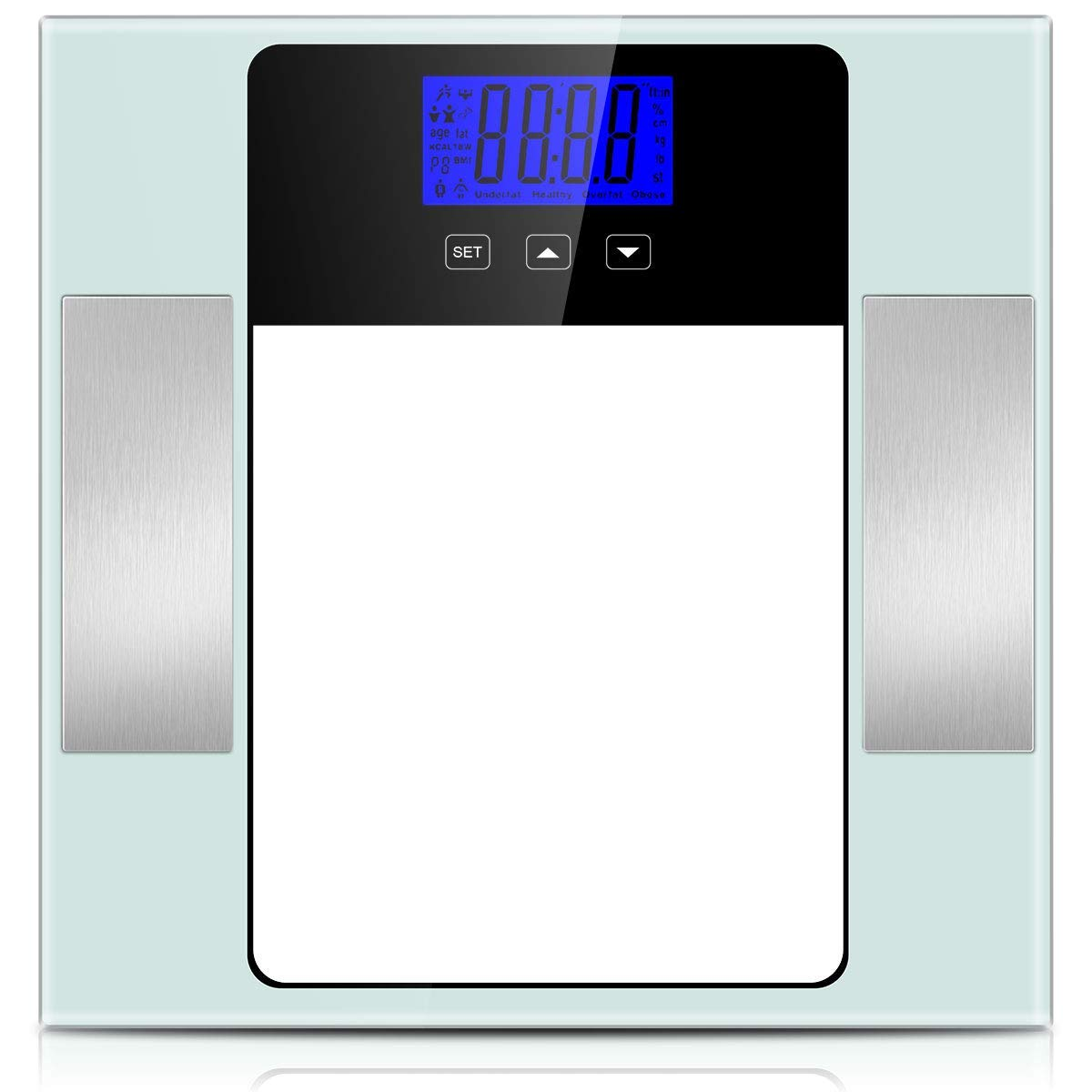 Accurate Body Weight Scale Smart BMI Body Fat Scale Monitor with 10 Users Memory Mode 400 Pounds Digital Bathroom Scale 6mm Tempered Non-Slip Glass LCD Large Display