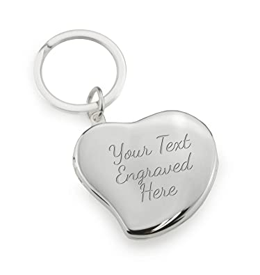 edc1b790e039 Image Unavailable. Image not available for. Colour  Personalised Silver  Heart Photo Locket Keyring ...