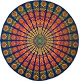 Handmade Sanganeer Peacock Mandala 72'' Round 100% Cotton Tablecloth Gorgeous, Blue Gray
