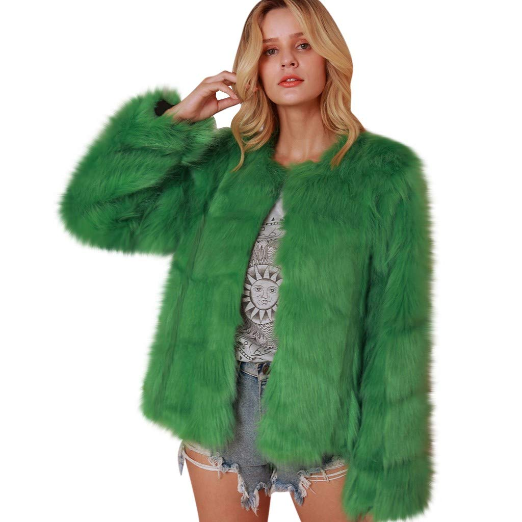 ONLY TOP Fashion Furry Faux Fur Coat Women Warm Long Sleeve Female Outerwear Autumn Winter Coat Jacket Overcoat Green by 👍ONLY TOP👍
