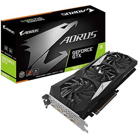 Gigabyte GeForce AORUS GTX 1660 Ti 6GB DDR6 - Tarjeta gráfica (PCI Express 3.0 x 16, HDMI/DP, 4K)