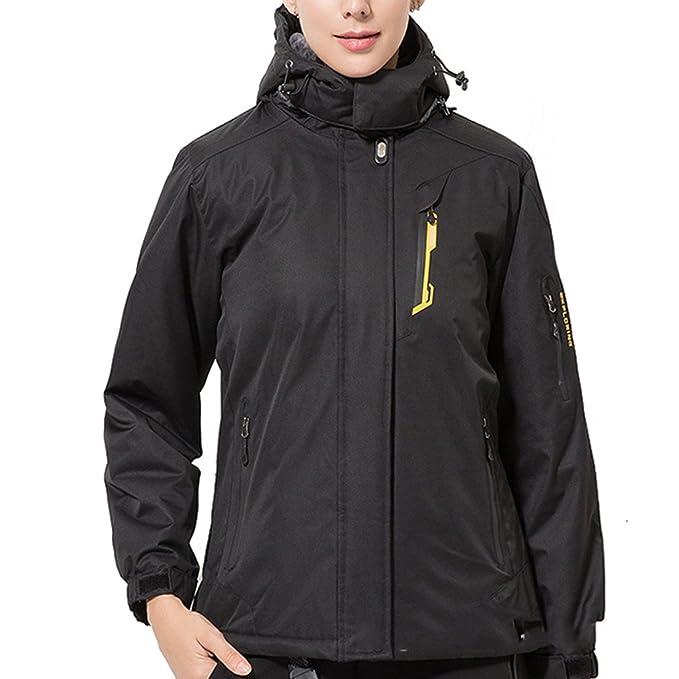 emansmoer Femme Winddicht Imperméable Outdoor Sport Veste de Ski Camping  Randonnée Hiver Rembourré Doublé Polaire Manteau da8dfa55d8d8