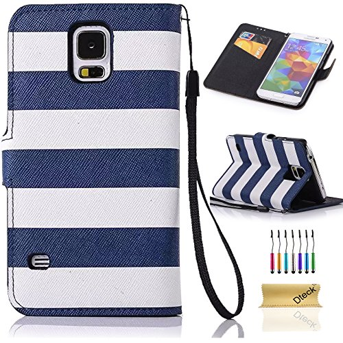 S5 Case,Galaxy S5 Case,Dteck(TM) Elegant Rainbow Stripes Anchor Rudder Premium PU Leather Flip Stand Magnetic Closure Wallet Case[Credit Card Slots] for Samsung Galaxy S5(Navy Blue)