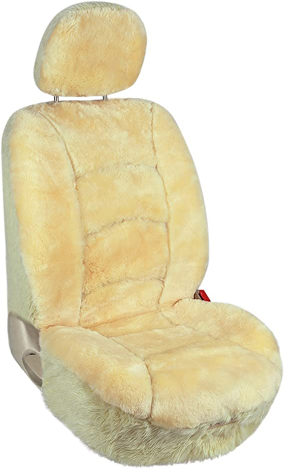 Leader Accessories Sheepskin Car Seat Covers 1pcs Low Back Front Seat Cover Fit for Car
